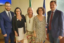 O presidente Fabio Porta e a coordenadora Daniela Dardi com a vice ministra Marina Sereni, a conselheira do CGIE Rita Blasioli e o presidente do PD em São Paulo, Luca Angelone.
