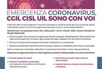 "Il manifesto dei sindacati italiani su ""Emergenza Coronavirus"" ♦ O manifesto dos sindicatos italianos sobre a ""Emergência Coronavirus""."